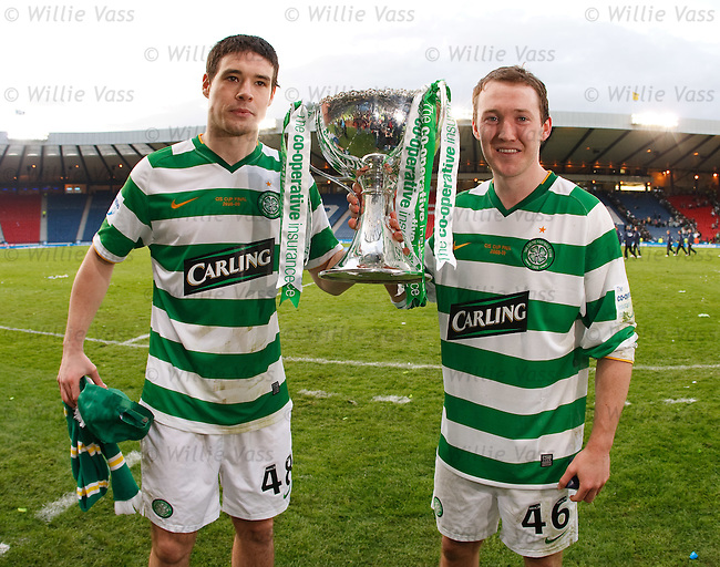 Goalscorers Darren O'Dea and Aiden McGeady with the Co-Op Cup