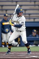 Michigan Wolverines outfielder Miles Lewis (3) at bat against the Indiana State Sycamores on April 10, 2019 in the NCAA baseball game at Ray Fisher Stadium in Ann Arbor, Michigan. Michigan defeated Indiana State 6-4. (Andrew Woolley/Four Seam Images)