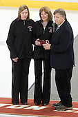 Jennifer Amelburu and Maureen Waldo (sister/mother) accept Northeastern's Kathryn Waldo's posthumous induction into the Beanpot Hall of Fame from Joe Bertagna.  Kathryn Waldo's Boston Globe obituary - http://bit.ly/kwaldo - The Boston College Eagles defeated the Harvard University Crimson 3-1 to win the 2011 Beanpot championship on Tuesday, February 15, 2011, at Conte Forum in Chestnut Hill, Massachusetts.