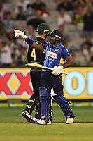 1st November 2019; Melbourne Cricket Ground, Melbourne, Victoria, Australia; International T20 Cricket, Australia versus Sri Lanka; Kusal Perera of Sri Lanka celebrates his half century - Editorial Use