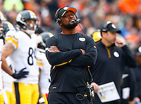 Head coach Mike Tomlin of the Pittsburgh Steelers looks on in the first half against the Cincinnati Bengals during the game at Paul Brown Stadium on December 12, 2015 in Cincinnati, Ohio. (Photo by Jared Wickerham/DKPittsburghSports)