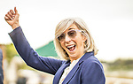 MAY 27: Carla Gaines celebrates winning the Shoemaker Mile at Santa Anita Park in Arcadia, California on May 27, 2019. Evers/Eclipse Sportswire/CSM