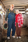 Ranch patriarchs Frank and Maryanne Busi at the calf marking and branding at the Stoney Creek Corrals of the Busi Ranch, Amador County, Calif.