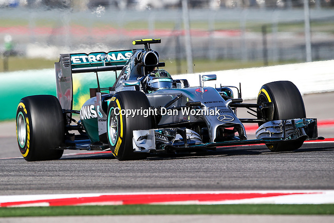 NICO ROSBERG (06) driver of the Mercedes AMG Petronas F1 team car in action during the last practice before the Formula 1 United States Grand Prix race at the Circuit of the Americas race track in Austin,Texas.