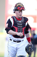 Rochester Red Wings catcher Steve Holm #24 during a game against the Louisville Bats at Frontier Field on May 9, 2011 in Rochester, New York.  Rochester defeated Louisville by the score of 7-6 in a marathon 18 inning game.  Photo By Mike Janes/Four Seam Images