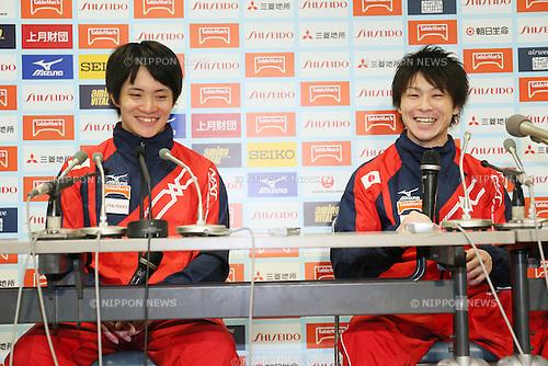 (L to R) <br /> Yusuke Tanaka, <br /> Kohei Uchimura, <br /> MAY 17, 2015 - Artistic Gymnastics : <br /> The 54th NHK Cup <br /> Individual All-Around <br /> Press Conference <br /> at Yoyogi 1st Gymnasium, Tokyo, Japan. <br /> (Photo by YUTAKA/AFLO SPORT)