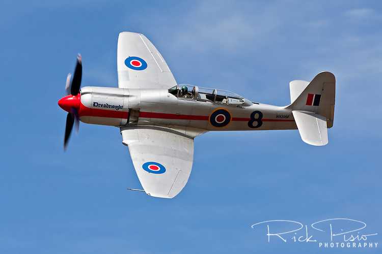 "Mark Watt pilots the Hawker Sea Fury ""Dreadnought"" around the race pylons during the 2010 Pylon Racing School."