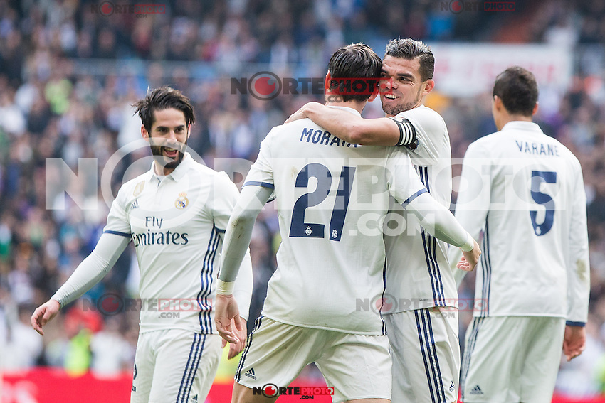 Alvaro Morata and Kleper Lima Ferreira Pepe of Real Madrid celebrates after scoring a goal during the match of La Liga between Real Madrid and RCE Espanyol at Santiago Bernabeu  Stadium  in Madrid , Spain. February 18, 2016. (ALTERPHOTOS/Rodrigo Jimenez) /Nortephoto.com