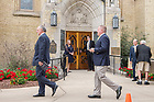 August 6, 2017; Head football coach Brian Kelly enters the Basilica for a Memorial Mass for former football coach Ara Parseghian. (Photo by Matt Cashore/University of Notre Dame)