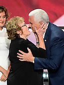 Governor Mike Pence (Republican of Indiana), the GOP nominee for Vice President of the United States and his mother Nancy Pence-Fritsch after he delivered his acceptance speech at the 2016 Republican National Convention held at the Quicken Loans Arena in Cleveland, Ohio on Wednesday, July 20, 2016.<br /> Credit: Ron Sachs / CNP<br /> <br /> <br /> (RESTRICTION: NO New York or New Jersey Newspapers or newspapers within a 75 mile radius of New York City)