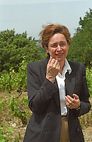 Evelyne de Jessey Pontbriand, co-owner and co-winemaker, in the vineyard, Domaine du Closel Chateau des Vaults, Savennières Maine et Loire France