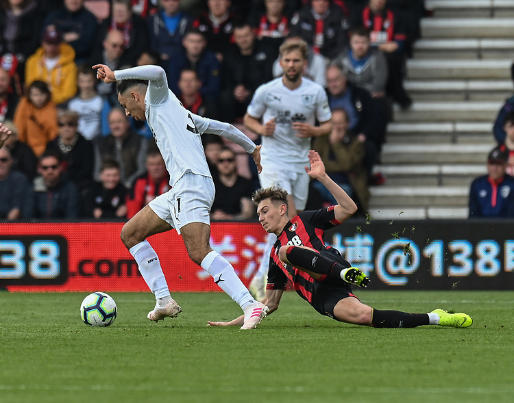 Burnley's Dwight McNeil (left) is tackled by Bournemouth's David Brooks (right) <br /> <br /> Photographer David Horton/CameraSport<br /> <br /> The Premier League - Bournemouth v Burnley - Saturday 6th April 2019 - Vitality Stadium - Bournemouth<br /> <br /> World Copyright © 2019 CameraSport. All rights reserved. 43 Linden Ave. Countesthorpe. Leicester. England. LE8 5PG - Tel: +44 (0) 116 277 4147 - admin@camerasport.com - www.camerasport.com