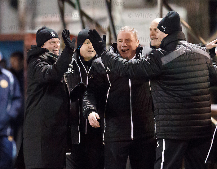 Ally McCoist and his staff celebrate after Nicky Law scores his second goal to seal the match