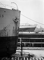 Januari 1963.  Scheepswerf Mercantile Marine Engineering in Antwerpen.  Schip Scho?nfels.