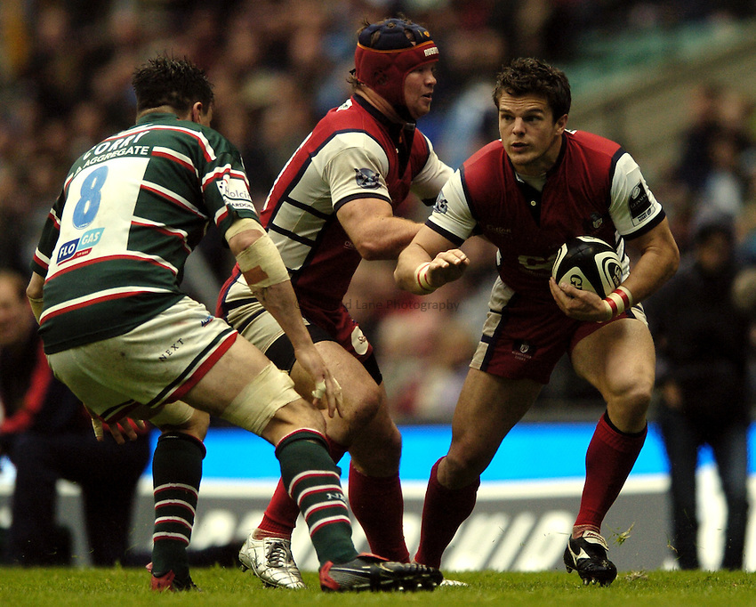 Photo: Jonathan Butler..Gloucester Rugby v Leicester Tigers. Guinness Premiership Final. 12/05/2007..Mark Foster of Gloucester takes on Martin Corry of Leicester.