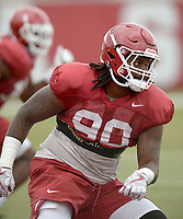 NWA Democrat-Gazette/ANDY SHUPE<br /> Arkansas defensive lineman Armon Watts (90) participates in a drill Tuesday, Aug. 7, 2018, during practice at the university practice fields in Fayetteville. Visit nwadg.com/photos to see more photographs from the practice.