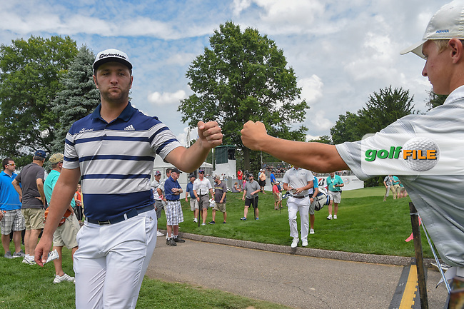Jon Rahm (ESP) fist bumps a young fan as he heads to 16 during 1st round of the World Golf Championships - Bridgestone Invitational, at the Firestone Country Club, Akron, Ohio. 8/2/2018.<br /> Picture: Golffile | Ken Murray<br /> <br /> <br /> All photo usage must carry mandatory copyright credit (© Golffile | Ken Murray)