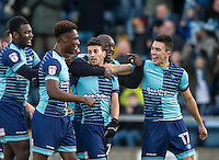 Celebrations as Scott Kashket (centre) of Wycombe Wanderers scores his first goal during the Sky Bet League 2 match between Wycombe Wanderers and Hartlepool United at Adams Park, High Wycombe, England on 26 November 2016. Photo by Andy Rowland / PRiME Media Images.