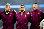England's Dylan Hartley with England's James Haskell (left) and England's Luther Burrell (right) - RBS 6 Nations - England vs Italy - Twickenham Stadium - London - 14/02/2015 - Pic Charlie Forgham-Bailey/Sportimage