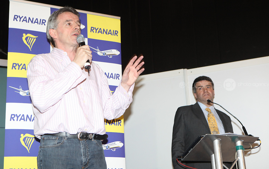 ***NO FEE PIC***.28/01/2011.Ryanair CEO Michael O' Leary & Travel Extra Editor Eoghan Corry at the Travel Clinic during the Holiday World Show in the RDS, Dublin..Photo: Gareth Chaney Collins
