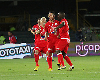 BOGOTÁ - COLOMBIA, 14-01-2019:Cristian Alvarezjugador de América de Cali celebra su gol contra el Atlético Nacional durante partido del Torneo Fox Sport 2019 jugado en el estadio Nemesio Camacho El Campín de la ciudad de Bogotá. /Cristian Alvarez player of America de Cali celebrates his goal agaisnt of Atlerico Nacional    during the  match of the Fox Sport 2019 Tournament played at the Nemesio Camacho El Campin Stadium in Bogota city. Photo: VizzorImage / Felipe Caicedo / Staff.