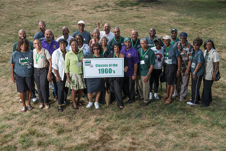 Ohio University graduates from the 1960s pose for a portrait during the 2016 Black Alumni Reunion's 'Through the Decades Cookout' at Tailgreat Park on Saturday, September 17, 2016.