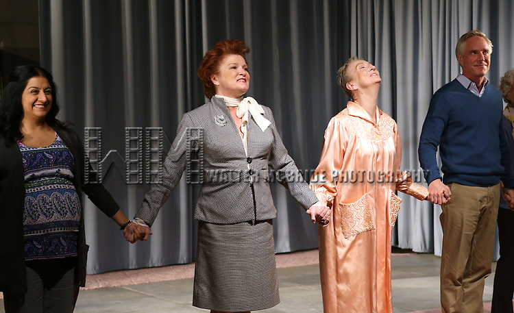 Maria Elena Ramirez, Kate Mulgrew, Kathleen Chalfant, Richard Bekins during the Opening Night Curtain Call for the Vineyard Theatre Production of 'Somewhere Fun' at the Vineyard Theatre in New York City on June 04, 2013.