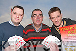 FULL HOUSE: A full house for Caherciveen GAA officers who are promoting a series of Texas Hold'em Poker Tournaments which will raise funds for a EUR1 million development at the St. Marys GAA Grounds..L/r. Paudie Donovan, Sean O'Shea and Brian O'Connor.   Copyright Kerry's Eye 2008