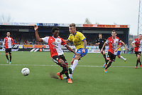 VOETBAL: LEEUWARDEN: 26-10-2014, Canbuurstadion, Cambuur - Feyenoord, uitslag 0-1, Miquel Nelom (Feyenoord | #18), Albert Rusnák (Cambuur | #11), ©foto Martin de Jong