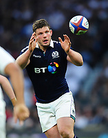 Ross Ford of Scotland receives the ball. RBS Six Nations match between England and Scotland on March 11, 2017 at Twickenham Stadium in London, England. Photo by: Patrick Khachfe / Onside Images
