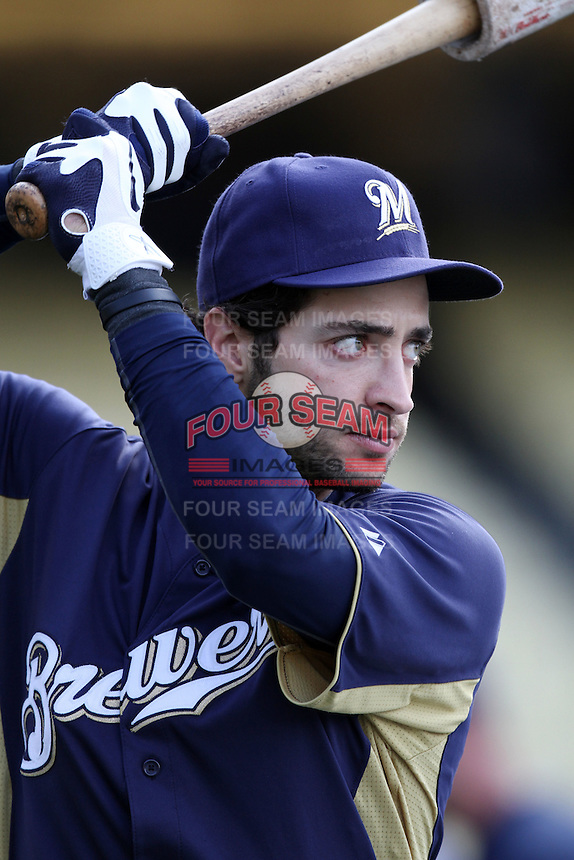 Ryan Braun #8 of the Milwaukee Brewers before game against the Los Angeles Dodgers at Dodger Stadium in Los Angeles,California on May 16, 2011. Photo by Larry Goren/Four Seam Images