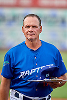 Dean Stiles (17) pitching coach for the Ogden Raptors before the game against the Grand Junction Rockies at Lindquist Field on July 23, 2019 in Ogden, Utah. The Raptors defeated the Rockies 11-4. (Stephen Smith/Four Seam Images)