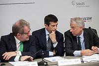 06/05/2013 Milano: Roberto Maroni, Maurizio Lupi e Giuliano Pisapia durante la conferenza stampa per la nomina di Giuseppe Sala a commissario unico di Expo 2015.