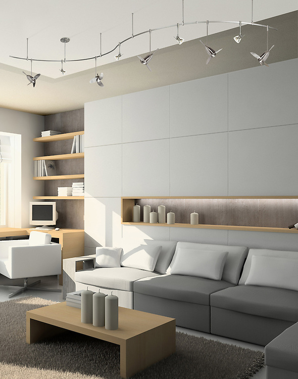 Iinterior of modern living-room. 3D render