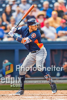 28 February 2017: Houston Astros infielder Carlos Correa in action during the Spring Training inaugural game against the Washington Nationals at the Ballpark of the Palm Beaches in West Palm Beach, Florida. The Nationals defeated the Astros 4-3 in Grapefruit League play. Mandatory Credit: Ed Wolfstein Photo *** RAW (NEF) Image File Available ***