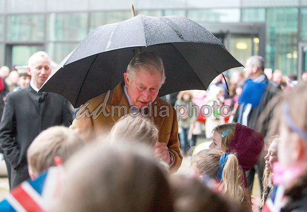 17 February 2016 - Redcar, United Kingdom - Prince Charles The Prince of Wales arrives at The Redcar & Cleveland Leisure and Community Heart in Redcar today to meet members of the local community, small businesses and the SSI task force who meet regularly in the centre to co-ordinate the response and offer support following the recent closure of the SSI Steelworks in Redcar. Photo Credit: Alpha Press/AdMedia
