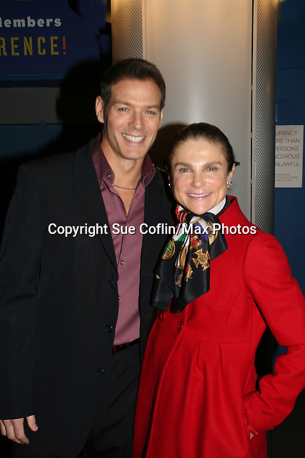 "Kevin Spirtas - OLTL ""Jonas"" and Days ""Craig Wesley"" poses wth Tovah Feldshuh - AMC, ATWT and Ryan's Hope perform at the Broadway For A New America presented by the Jewish Alliance for Change on April 13, 2009 at the Peter Norton Symphony Space, NYC. (Photo by Sue Coflin/Max Photos)"