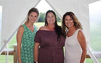 NWA Democrat-Gazette/CARIN SCHOPPMEYER Morgan Stubbs (from left) Anita Cowan and Karen Gray enjoy Heels and Hammers.