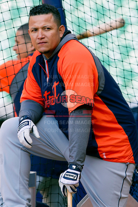 Detroit Tigers third baseman Miguel Cabrera (24) warms up in the batting cage before the MLB baseball game against the Houston Astros on May 3, 2013 at Minute Maid Park in Houston, Texas. Detroit defeated Houston 4-3. (Andrew Woolley/Four Seam Images).