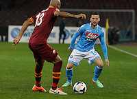 Dries Mertens    in action during the Italian Serie A soccer match between SSC Napoli and AS Roma   at San Paolo stadium in Naples, March 09 , 2014