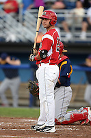 Batavia Muckdogs third baseman Ryan Cranmer (25) at bat during a game against the State College Spikes on July 3, 2014 at Dwyer Stadium in Batavia, New York.  State College defeated Batavia 7-1.  (Mike Janes/Four Seam Images)