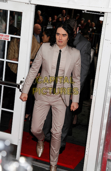 RUSSELL BRAND .'Arthur' Premiere held at the Ziegfield Theater, New York, New York, USA, .6th April 2011..full length grey gray black tie  beige  gold shoes .CAP/ADM/LK.©Lauren Krohn/AdMedia/Capital Pictures.