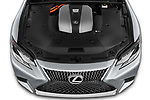 Car stock 2018 Lexus LS 500h 4 Door Sedan engine high angle detail view
