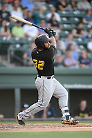 First baseman Onil Pena (32) of the West Virginia Power bats in a game against the Greenville Drive on Friday, May 17, 2019, at Fluor Field at the West End in Greenville, South Carolina. West Virginia won, 10-4. (Tom Priddy/Four Seam Images)