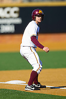 AJ Pettersen #1 of the Minnesota Golden Gophers takes his lead off of third base against the Towson Tigers at Gene Hooks Field on February 26, 2011 in Winston-Salem, North Carolina.  The Gophers defeated the Tigers 6-4.  Photo by Brian Westerholt / Sports On Film