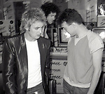 """Roger Taylor, Brian May and John Deacon of Queen attend Queen Press Conference for """"Hot Space"""" at Crazy Eddie's on July 27, 1982  in New York City."""