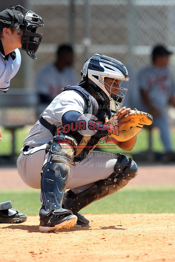 Detroit Tigers catcher Gabriel Purroy #17 during an extended Spring Training game against the Washington Nationals at the Carl Barger Training Complex on April 30, 2012 in Viera, Florida.  (Mike Janes/Four Seam Images)