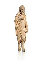Marble statue of Pan found in Sparta, Pelopenese, 1st Cent AD copy of 4th Cent BC Greek original. Athens Archaeological Museum Cat No 252. Against white, <br /> <br /> Pan, the goat footed god wears an animal pelt from which protrude only his jhairy legs. In his left hand he is holding pan pipes. The expression on his bestial featured face is softened by a broad smile.