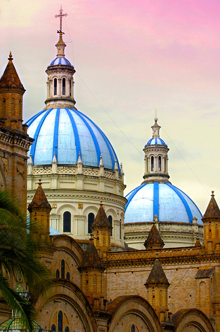 The sky blue domes of the Cathedral of the Immaculate Concepcion in Cuenca, Ecuador.