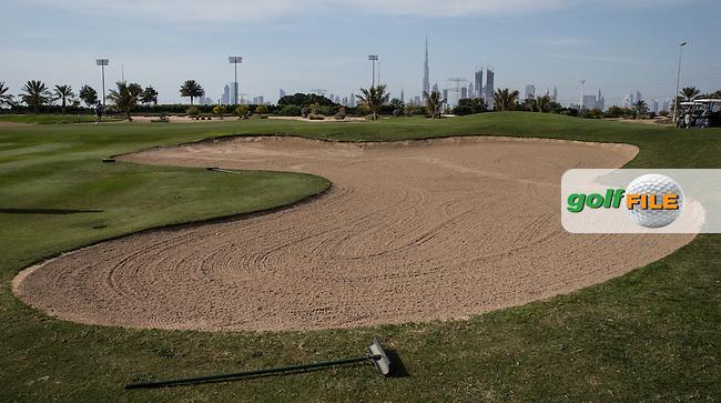 9th green bunker, The Track at The Meydan Golf Club, Dubai, United Arab Emirates.  31/01/2016. Picture: Golffile | David Lloyd<br /> <br /> All photos usage must carry mandatory copyright credit (&copy; Golffile | David Lloyd)